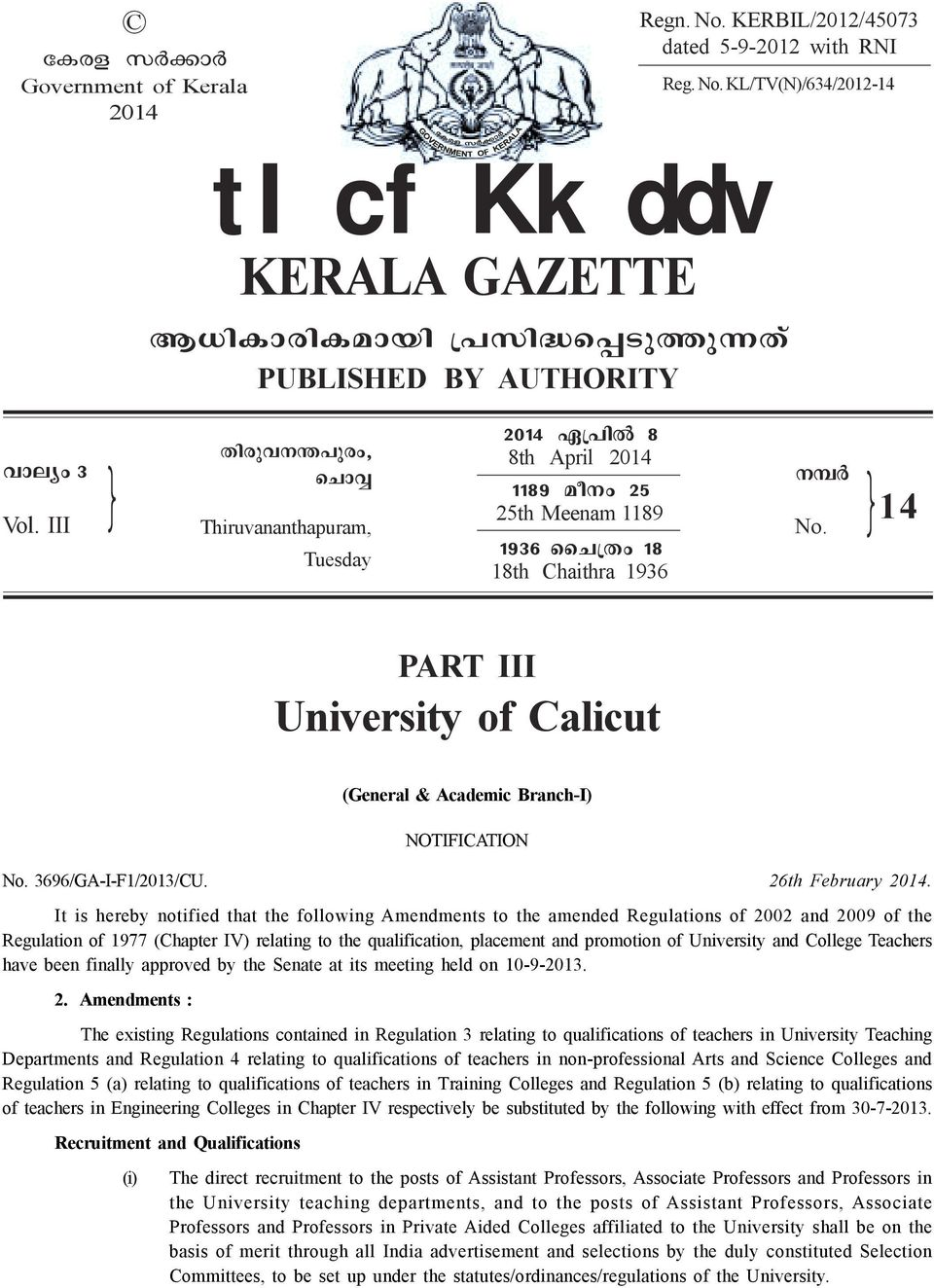 1936 ssn{xw 18 Tuesday 18th Chaithra 1936 14 PART III University of Calicut (General & Academic Branch-I) NOTIFICATION No. 3696/GA-I-F1/2013/CU. 26th February 2014.