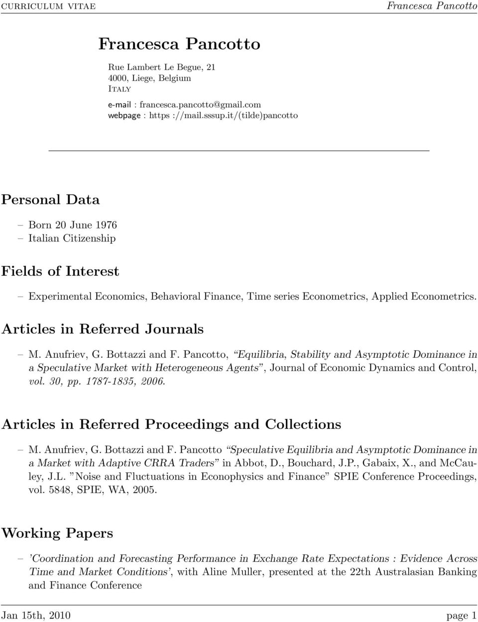 Articles in Referred Journals M. Anufriev, G. Bottazzi and F.