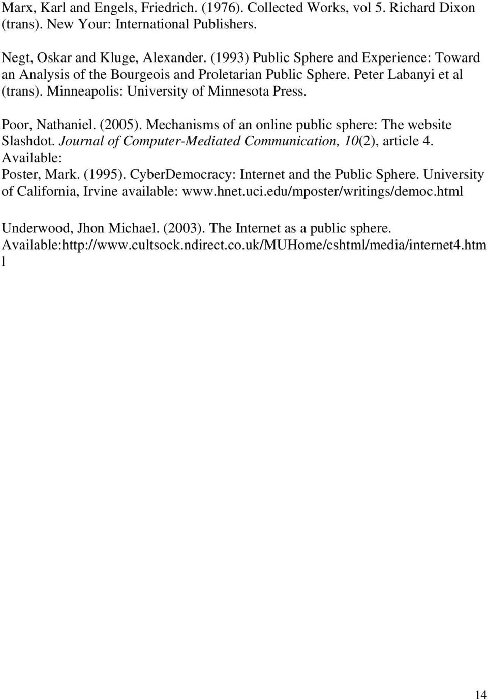 (2005). Mechanisms of an online public sphere: The website Slashdot. Journal of Computer-Mediated Communication, 10(2), article 4. Available: Poster, Mark. (1995).