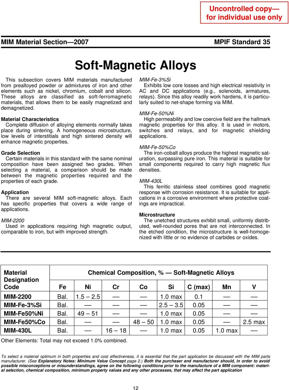 Characteristics Complete diffusion of alloying elements normally takes place during sintering.