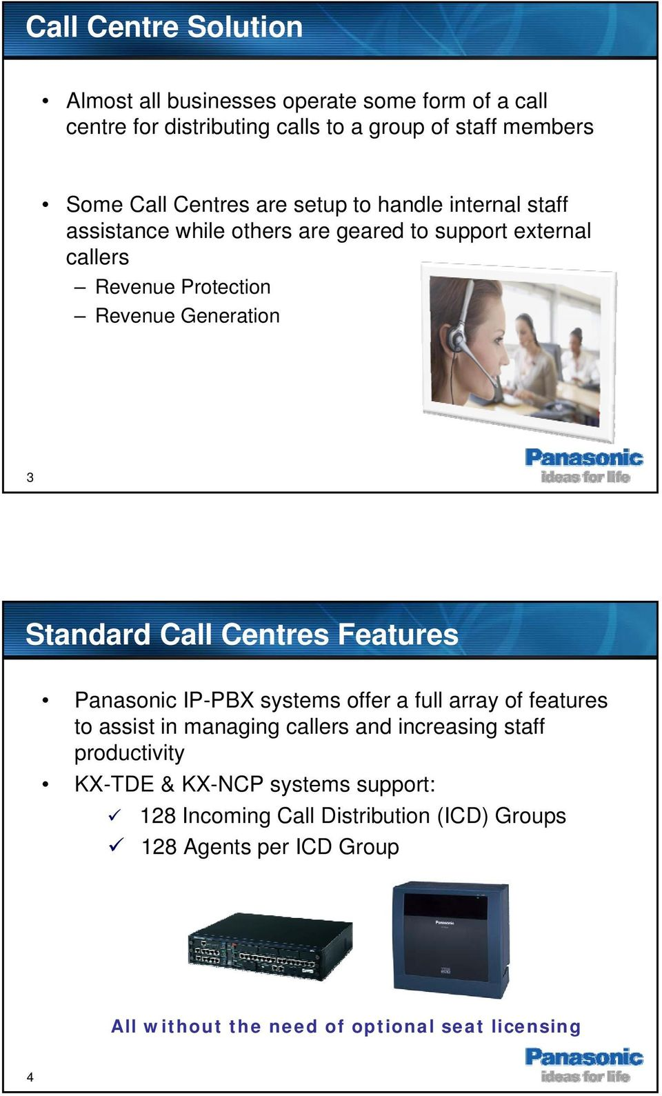 Call Centres Features Panasonic IP-PBX systems offer a full array of features to assist in managing callers and increasing staff productivity