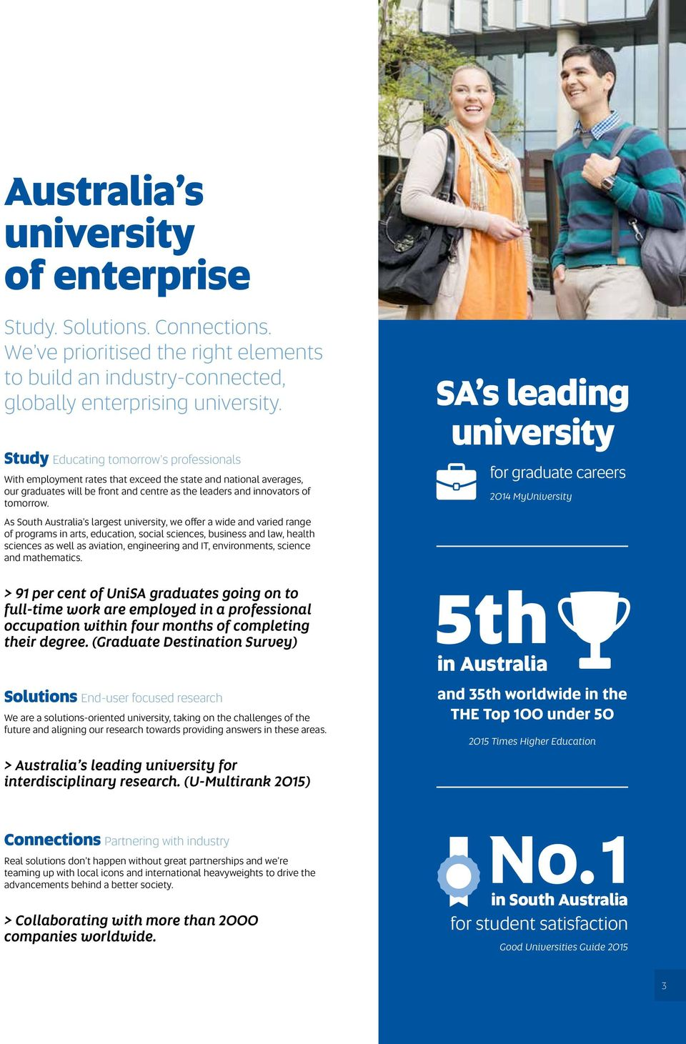 As South Australia s largest university, we offer a wide and varied range of programs in arts, education, social sciences, business and law, health sciences as well as aviation, engineering and IT,