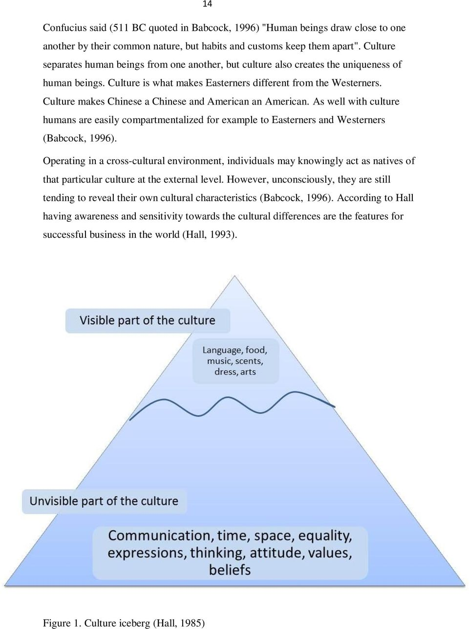 Culture makes Chinese a Chinese and American an American. As well with culture humans are easily compartmentalized for example to Easterners and Westerners (Babcock, 1996).