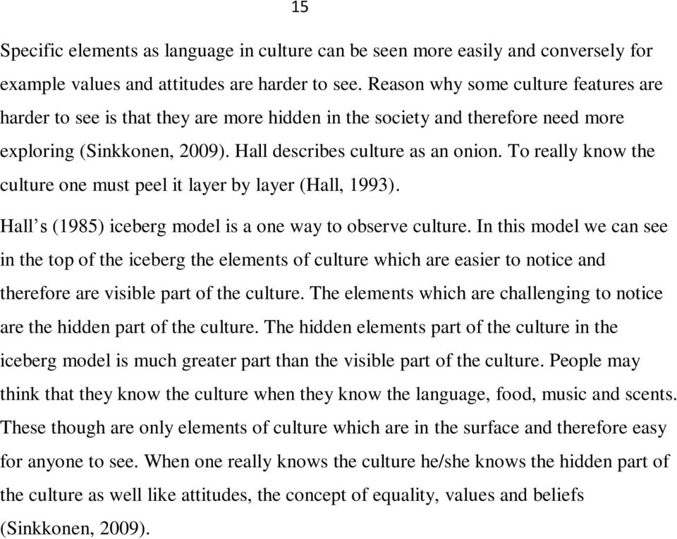 To really know the culture one must peel it layer by layer (Hall, 1993). Hall s (1985) iceberg model is a one way to observe culture.