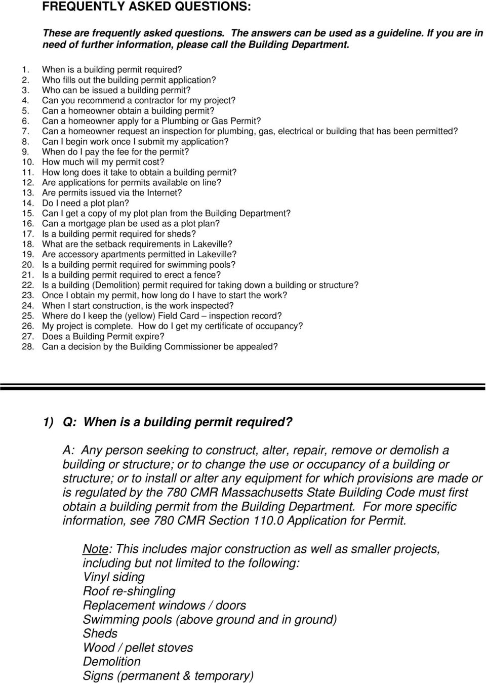 Can a homeowner obtain a building permit? 6. Can a homeowner apply for a Plumbing or Gas Permit? 7.
