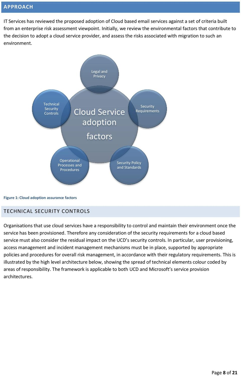 Legal and Privacy Technical Security Controls Cloud Service adoption factors Security Requirements Operational Processes and Procedures Security Policy and Standards Figure 1: Cloud adoption
