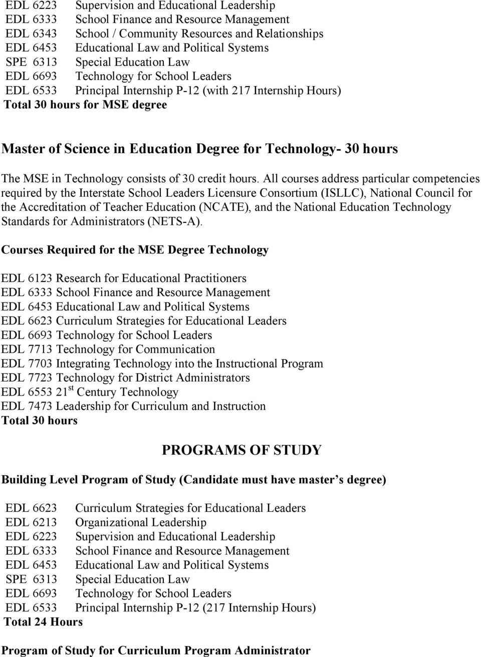 Degree for Technology- 30 hours The MSE in Technology consists of 30 credit hours.