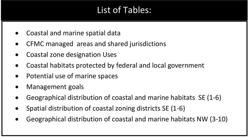 spaces Management goals Geographical distribution of coastal and marine habitats SE (1-6) Spatial