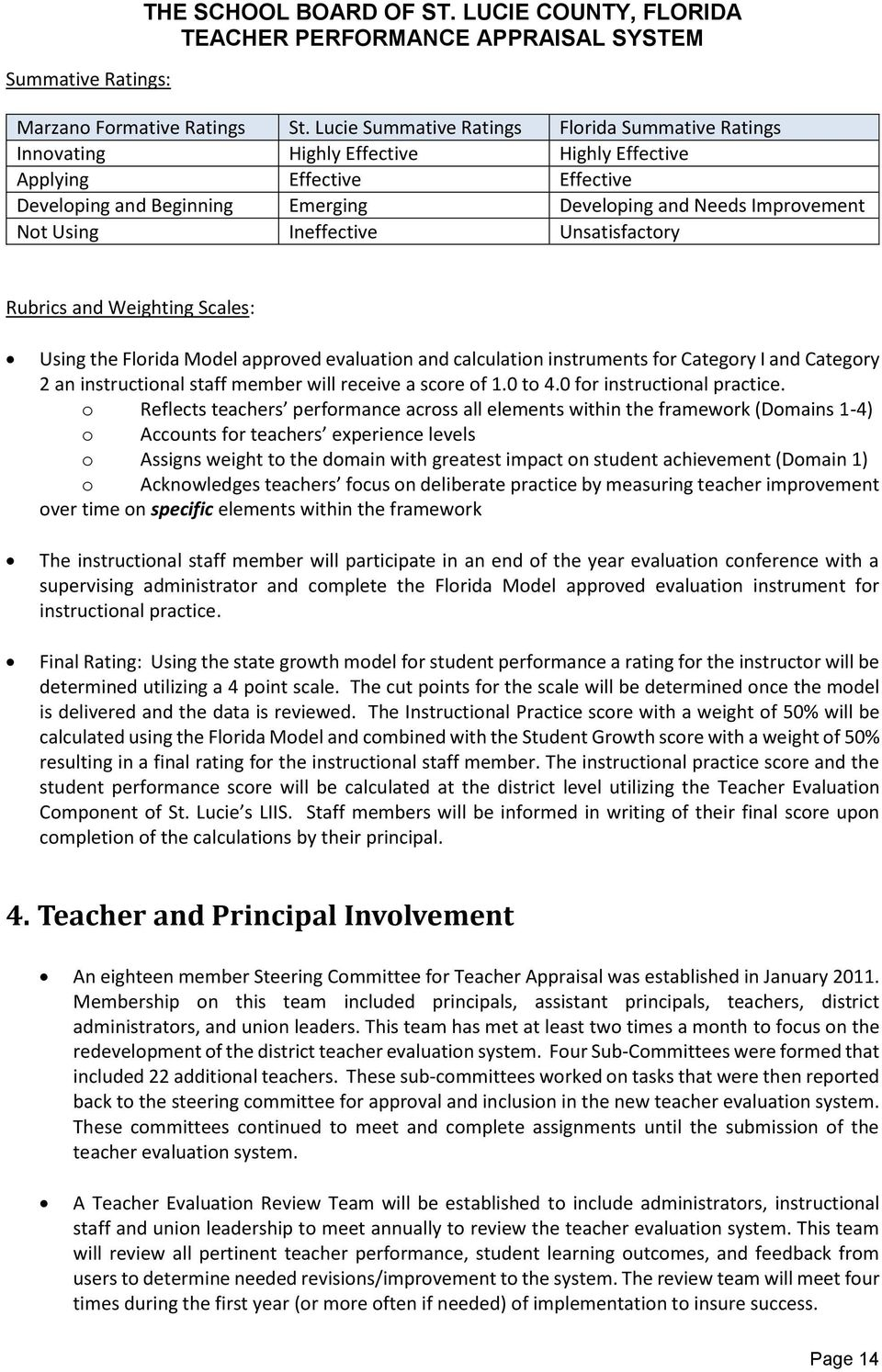 Using Ineffective Unsatisfactory Rubrics and Weighting s: Using the Florida Model approved evaluation and calculation instruments for Category I and Category 2 an instructional staff member will