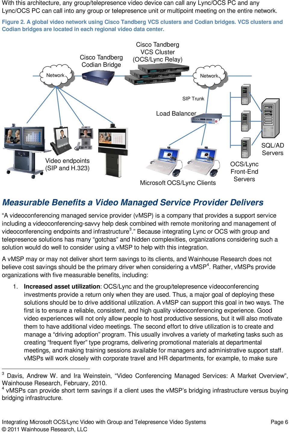 Network Cisco Tandberg Codian Bridge Cisco Tandberg VCS Cluster (OCS/Lync Relay) Network SIP Trunk Load Balancer Video endpoints (SIP and H.