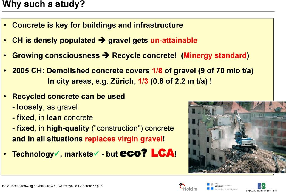 (Minergy standard) 2005 CH: Demolished concrete covers 1/8 of gravel (9 of 70 mio t/a) In city areas, e.g. Zürich, 1/3 (0.8 of 2.2 m t/a)!