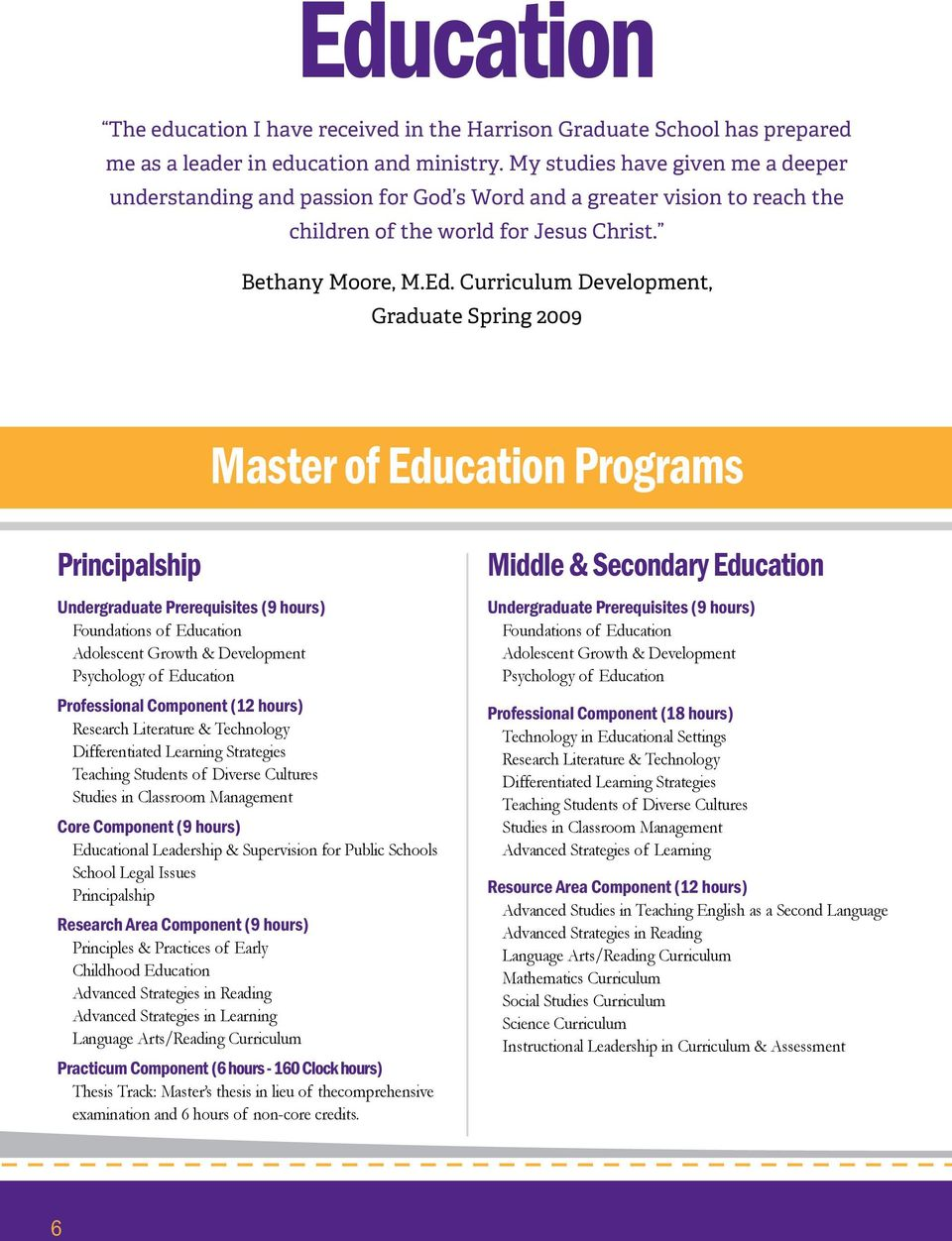 Curriculum Development, Graduate Spring 2009 Master of Education Programs Principalship Undergraduate Prerequisites (9 hours) Foundations of Education Adolescent Growth & Development Psychology of