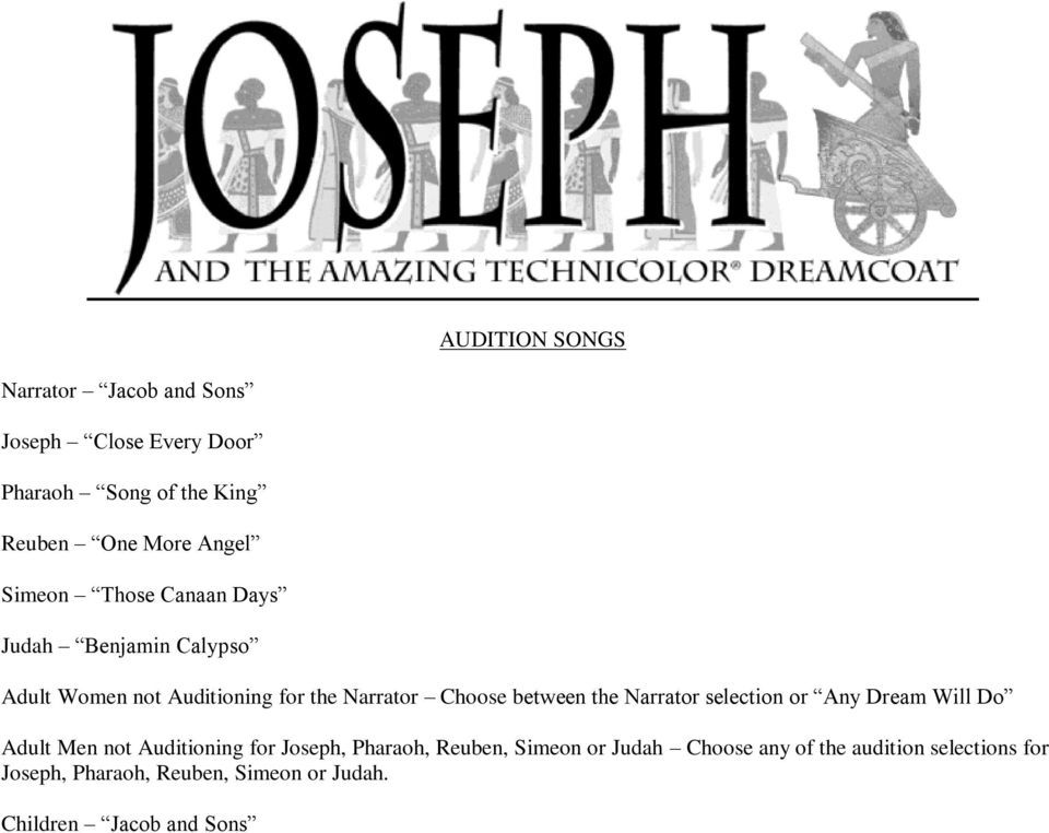 the Narrator selection or Any Dream Will Do Adult Men not Auditioning for Joseph, Pharaoh, Reuben, Simeon or