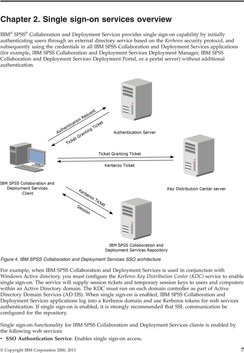 Kerberos security protocol, and subsequently using the credentials in all IBM SPSS Collaboration and Deployment Services applications (for example, IBM SPSS Collaboration and Deployment Services