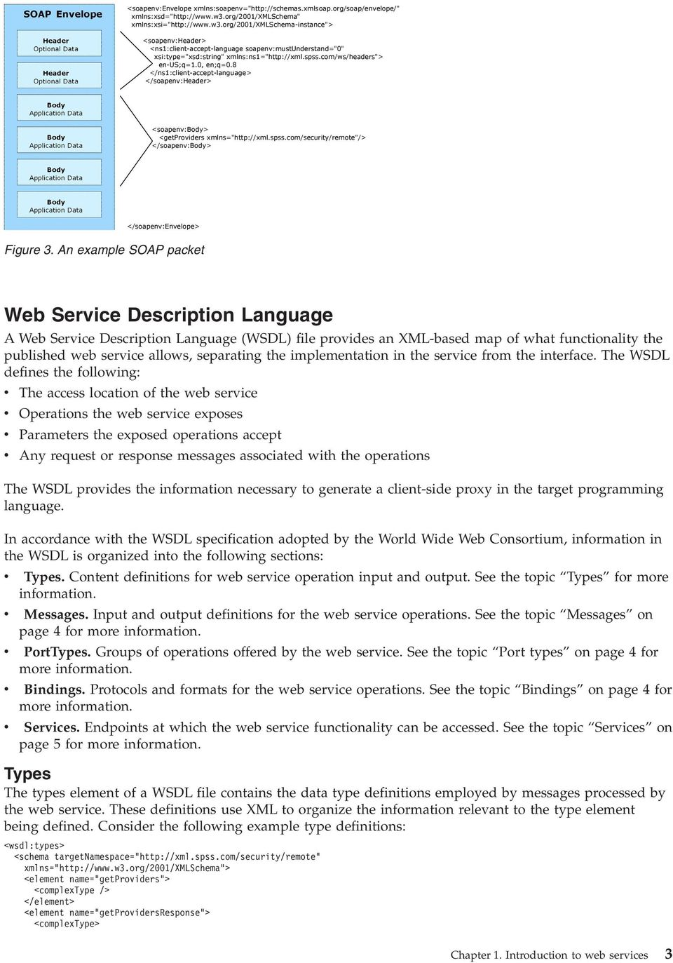 An example SOAP packet Web Service Description Language A Web Service Description Language (WSDL) file provides an XML-based map of what functionality the published web service allows, separating the