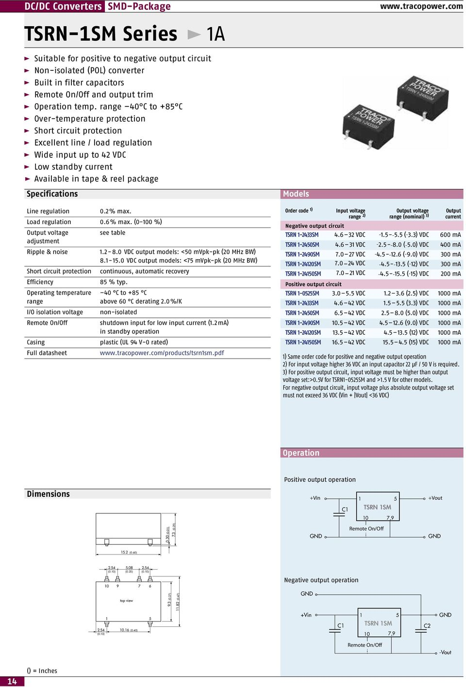6 % (0-100 %) Output voltage see table adjustment 1.2-8.0 VDC output models: <50 mvpk-pk (20 MHz BW) 8.1-15.0 VDC output models: <75 mvpk-pk (20 MHz BW) 85 % typ. 40 C to +85 C above 60 C derating 2.