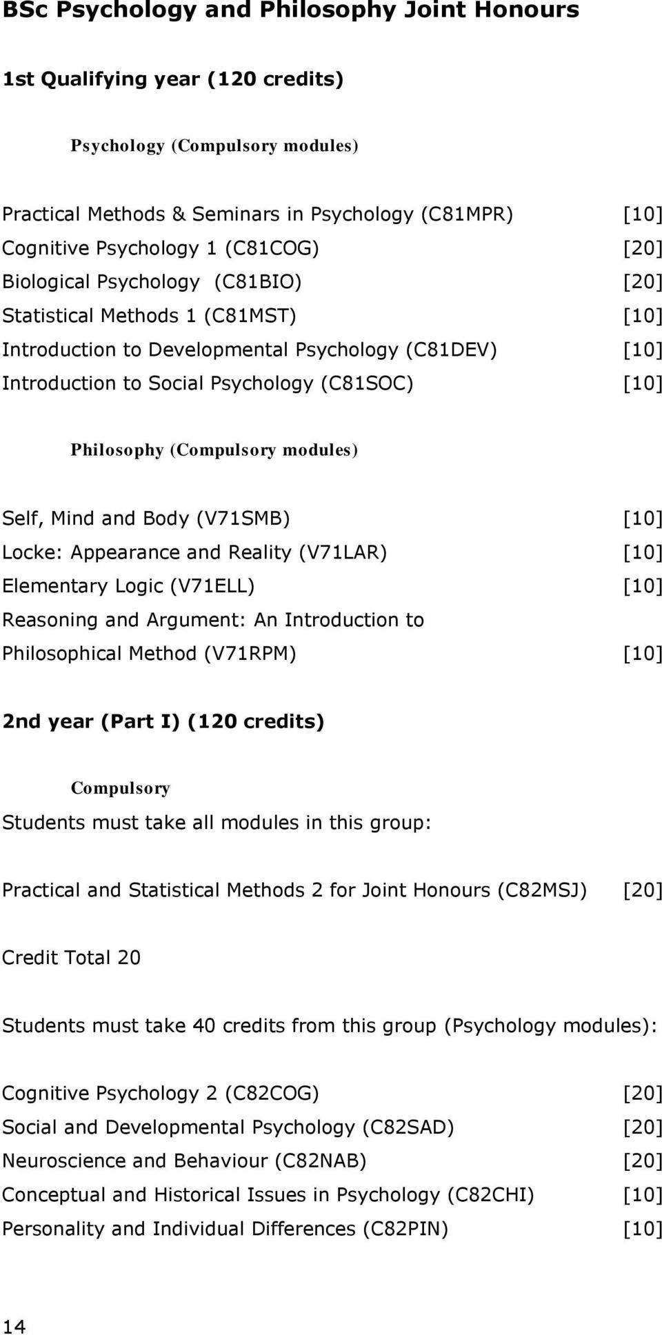 (Compulsory modules) Self, Mind and Body (V71SMB) [10] Locke: Appearance and Reality (V71LAR) [10] Elementary Logic (V71ELL) [10] Reasoning and Argument: An Introduction to Philosophical Method