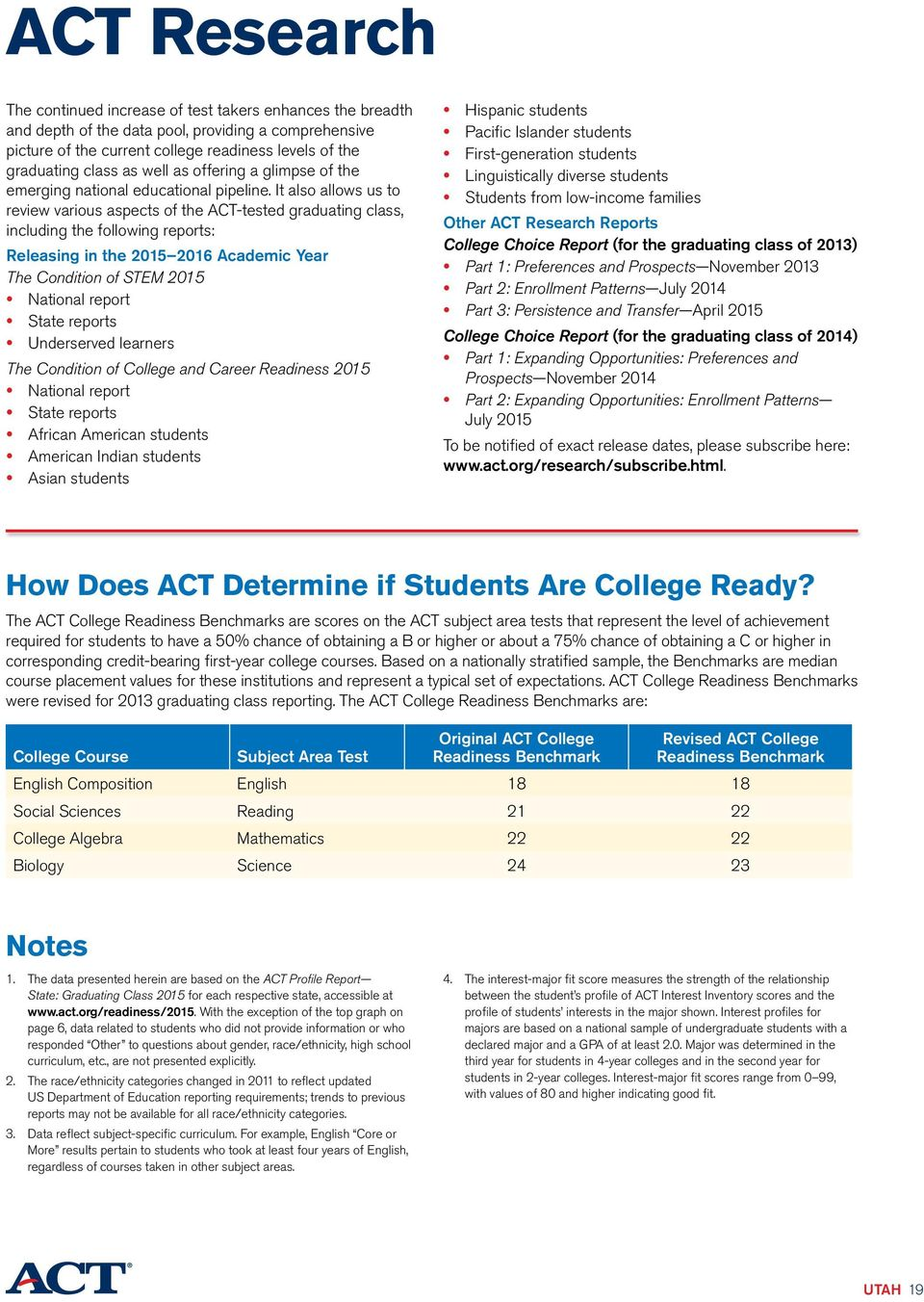 It also allows us to review various aspects of the ACT-tested graduating class, including the following reports: Releasing in the 15 16 Academic Year The Condition of STEM 15 National report State