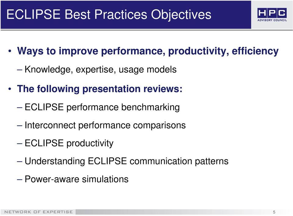 reviews: ECLIPSE performance benchmarking Interconnect performance comparisons
