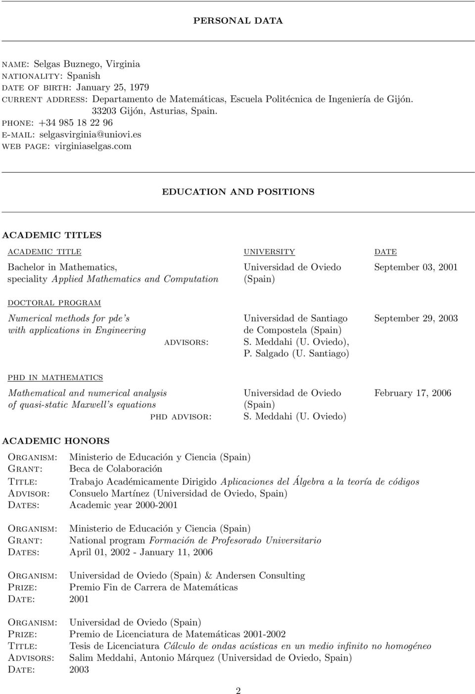 Curriculum Vitae and Scientific Activities. Virginia SELGAS - PDF