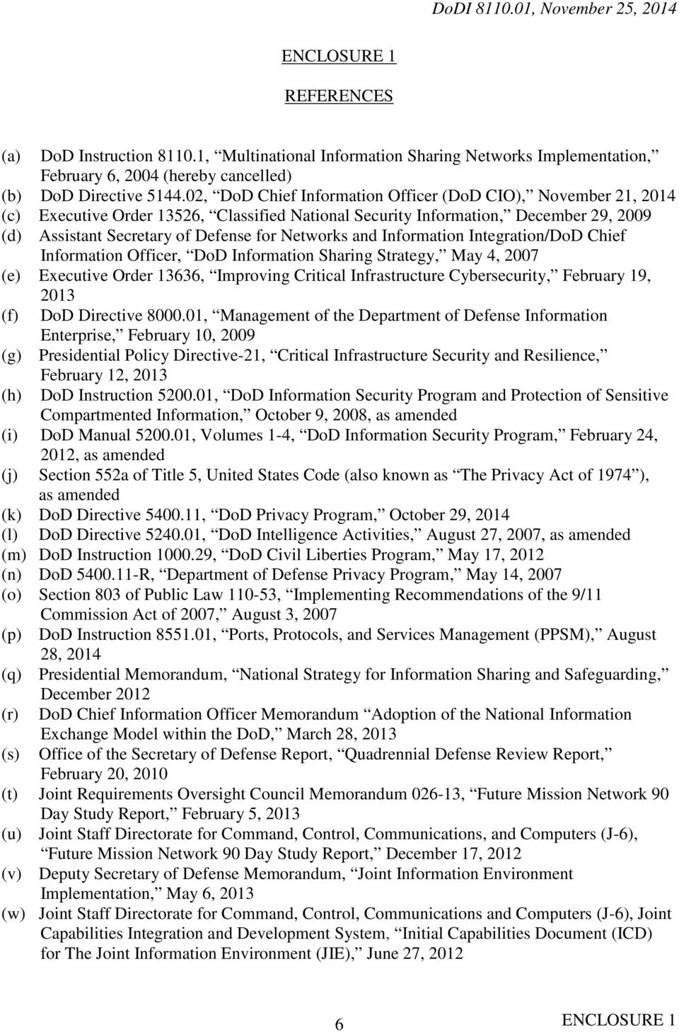 and Information Integration/DoD Chief Information Officer, DoD Information Sharing Strategy, May 4, 2007 (e) Executive Order 13636, Improving Critical Infrastructure Cybersecurity, February 19, 2013