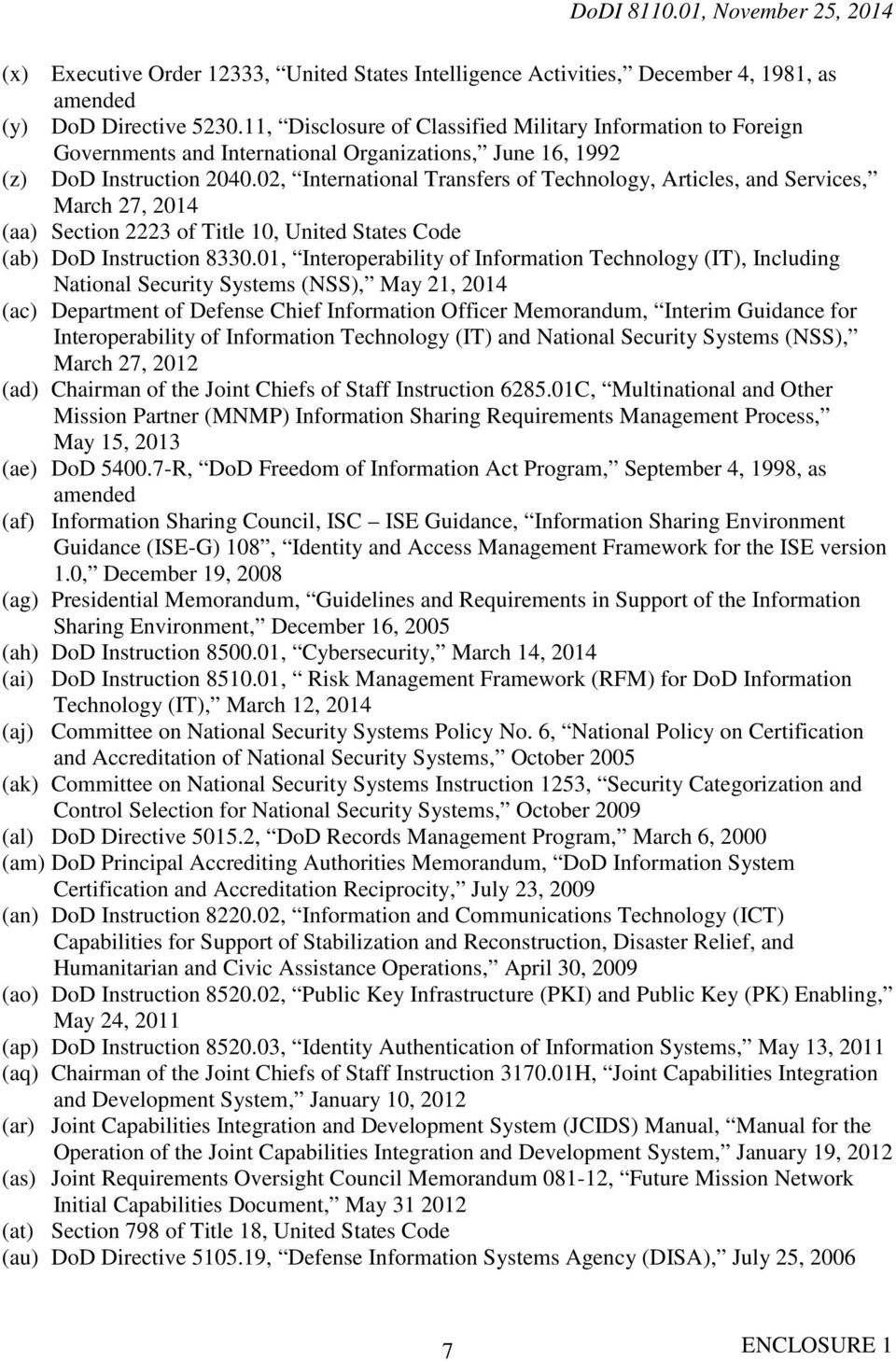 02, International Transfers of Technology, Articles, and Services, March 27, 2014 (aa) Section 2223 of Title 10, United States Code (ab) DoD Instruction 8330.