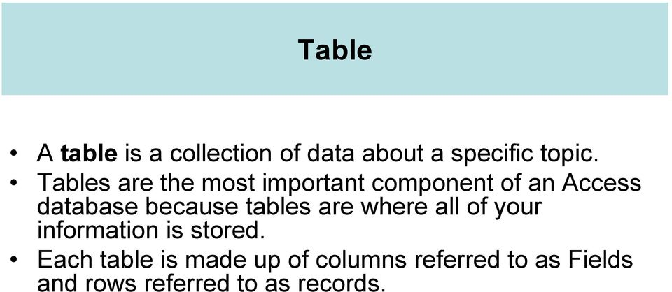 because tables are where all of your information is stored.