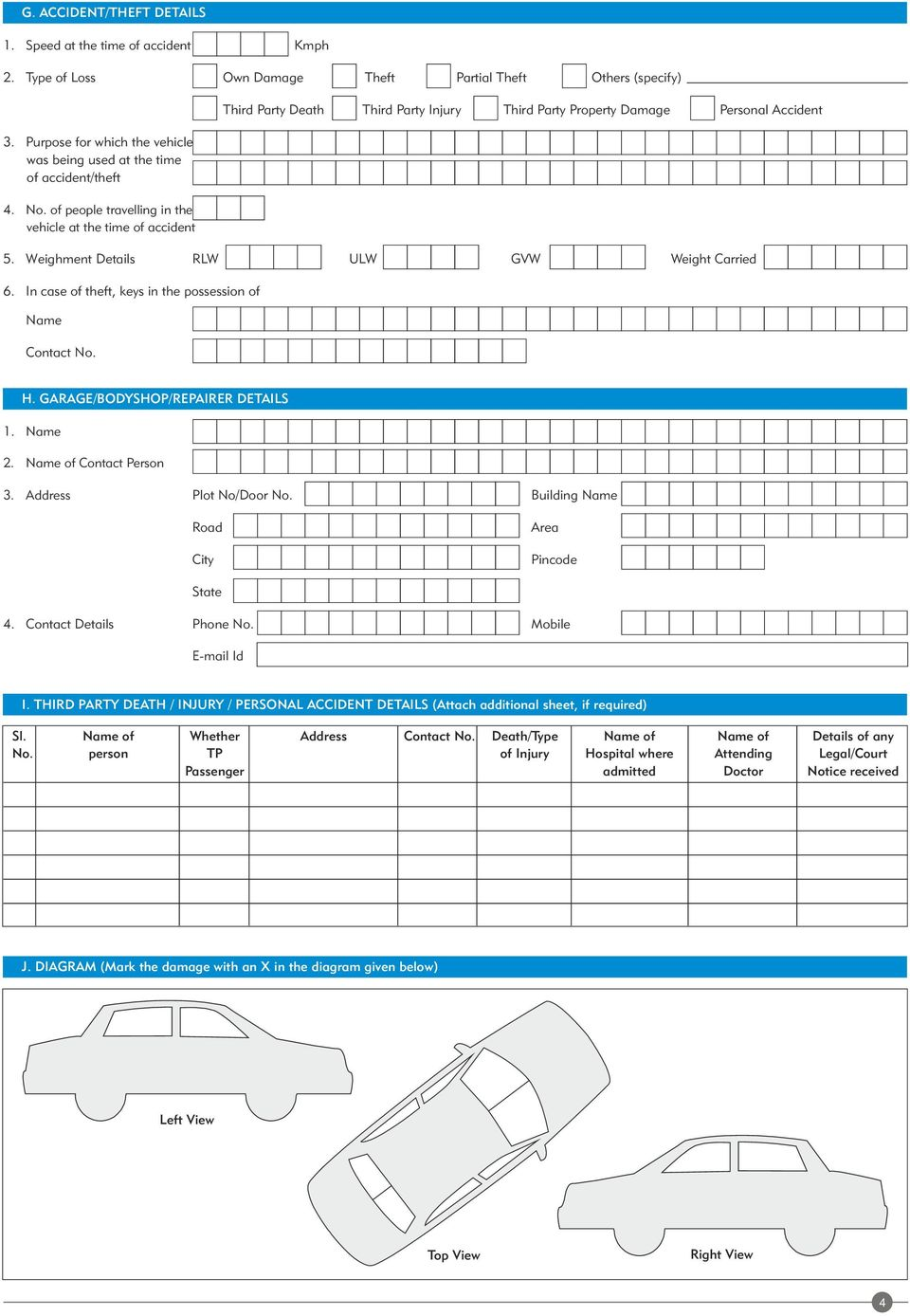 of people travelling in the vehicle at the time of accident Third Party Death Third Party Injury Third Party Property Damage Personal Accident 5. Weighment Details RLW ULW GVW Weight Carried 6.
