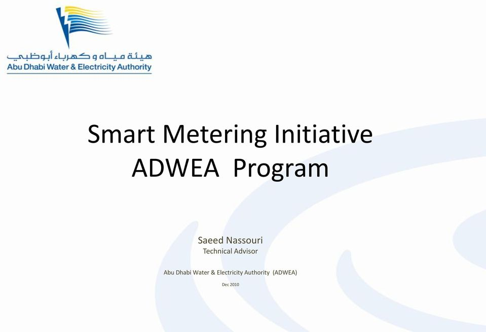 Advisor Abu Dhabi Water &