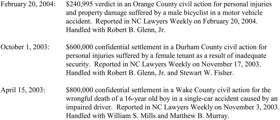 $600,000 confidential settlement in a Durham County civil action for personal injuries suffered by a female tenant as a result of inadequate security.
