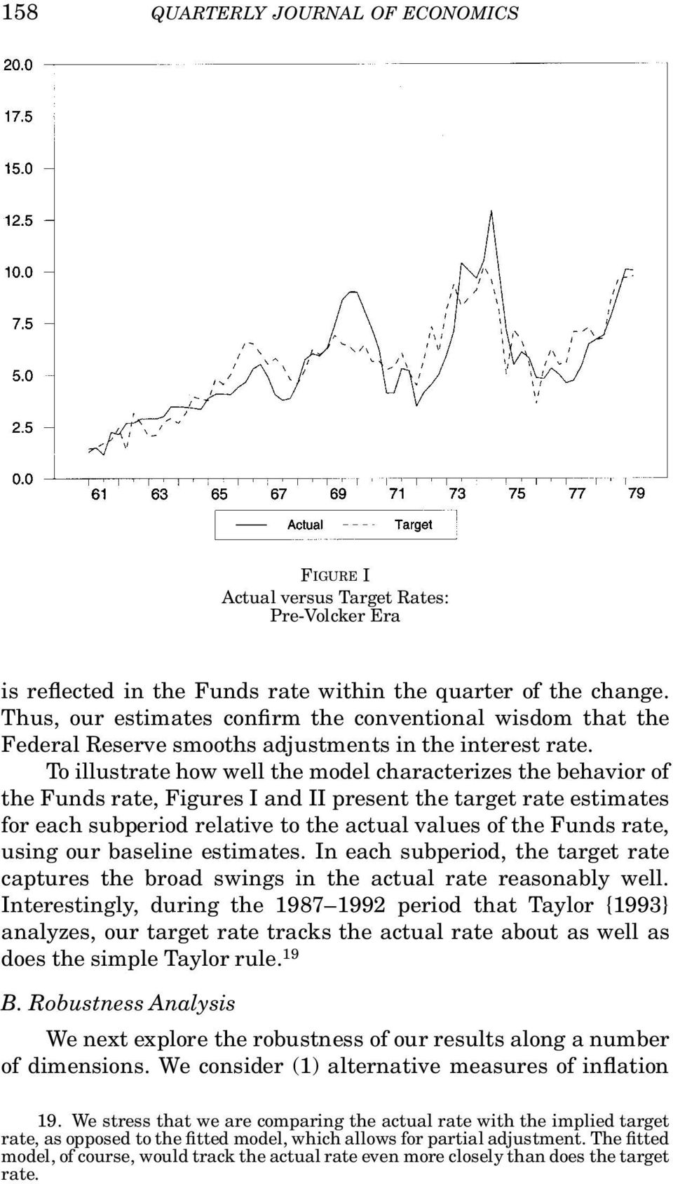 To illustrate how well the model characterizes the behavior of the Funds rate, Figures I and II present the target rate estimates for each subperiod relative to the actual values of the Funds rate,
