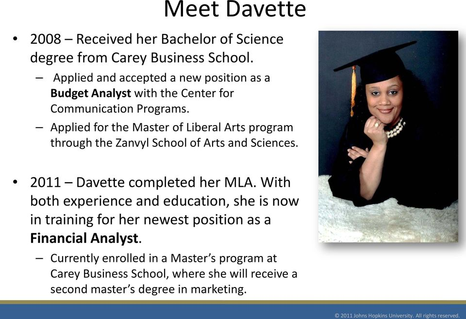 Applied for the Master of Liberal Arts program through the Zanvyl School of Arts and Sciences. 2011 Davette completed her MLA.