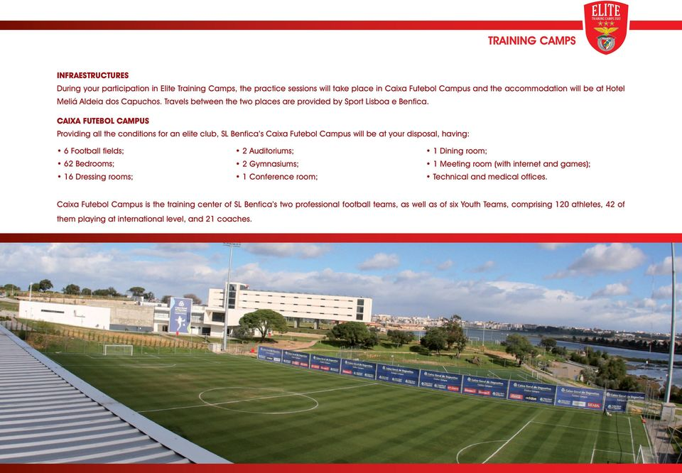 CAIXA FUTEBOL CAMPUS Providing all the conditions for an elite club, SL Benfica s Caixa Futebol Campus will be at your disposal, having: 6 Football fields; 62 Bedrooms; 16 Dressing rooms; 2