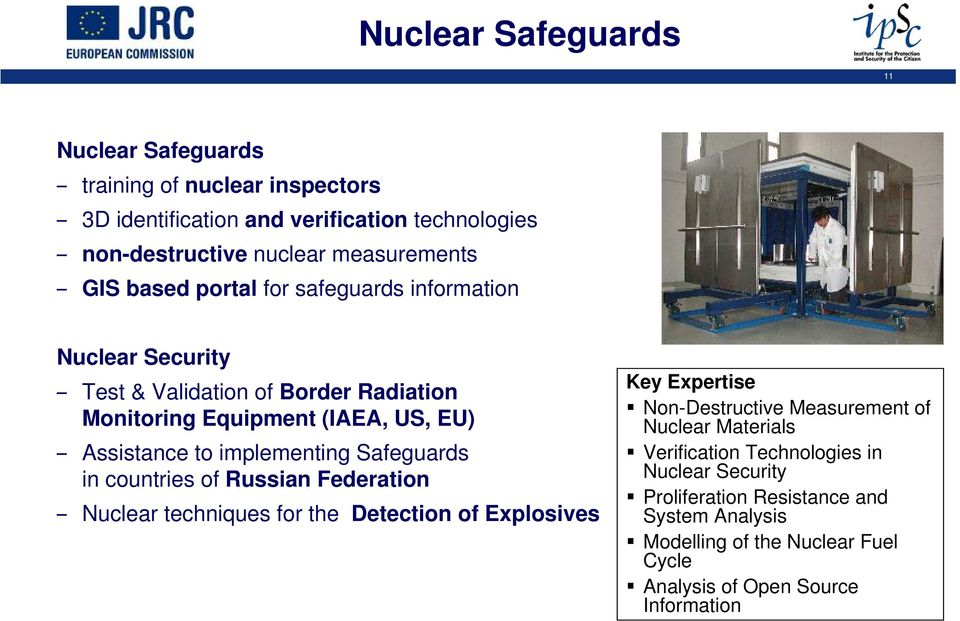 implementing Safeguards in countries of Russian Federation Nuclear techniques for the Detection of Explosives Non-Destructive Measurement of Nuclear