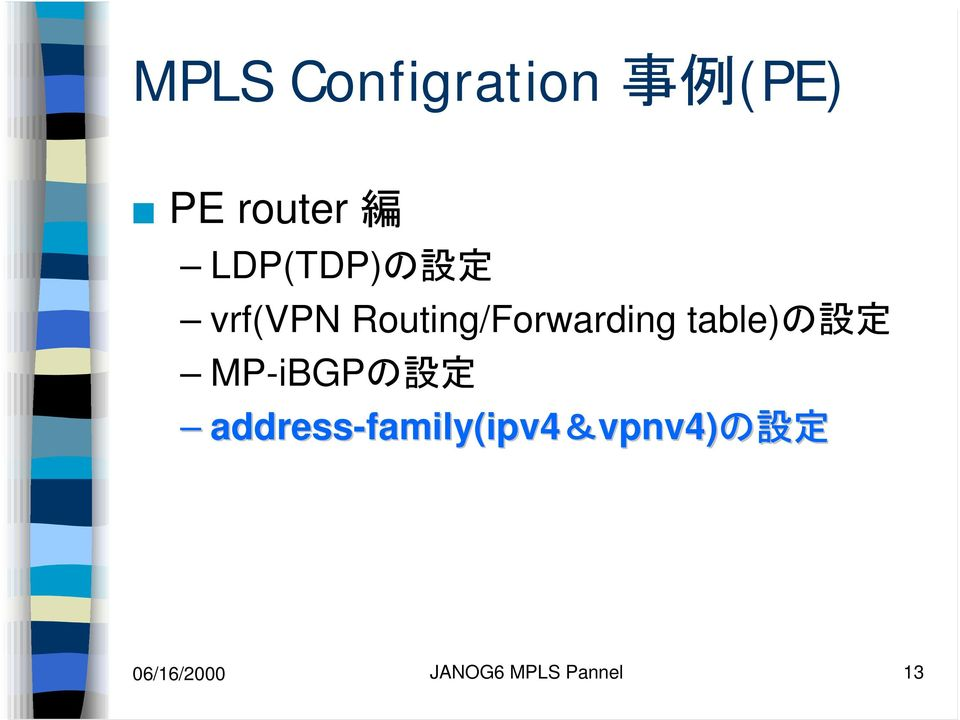 table)の 設 定 MP-iBGPの 設 定 address-family(ipv4