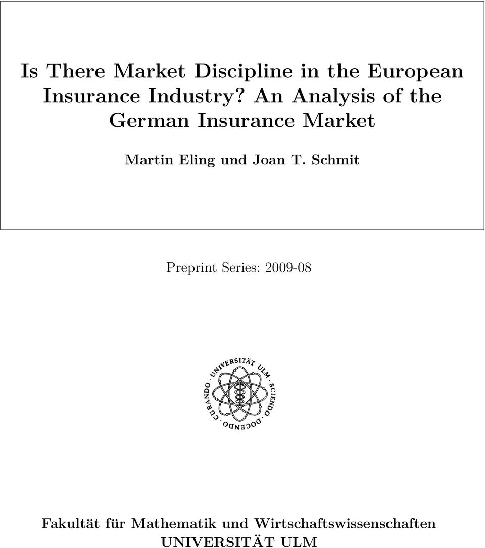An Analysis of the German Insurance Market Martin Eling