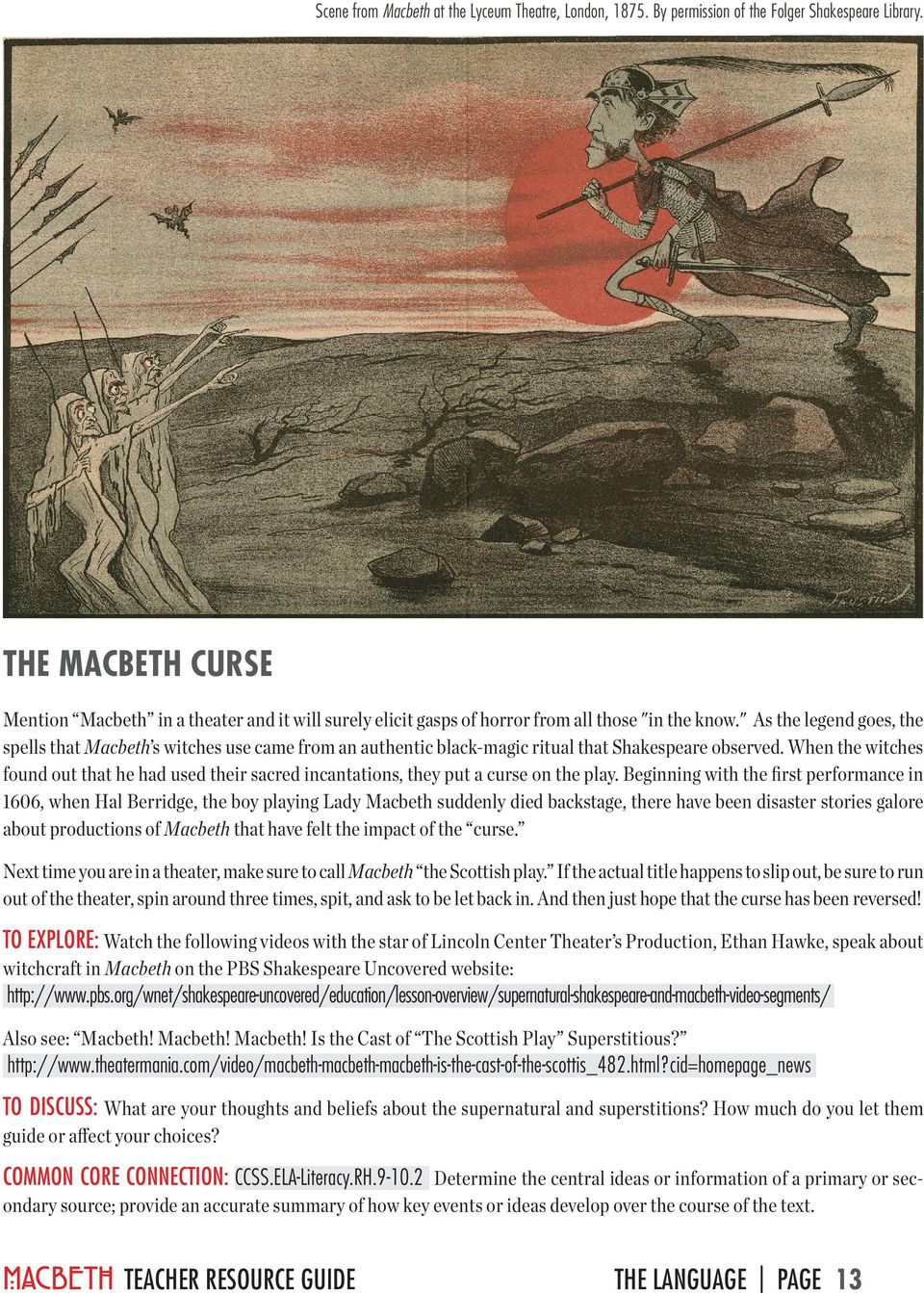 lincoln center theater teacher resource guide pdf as the legend goes the spells that macbeth s witches use came from an