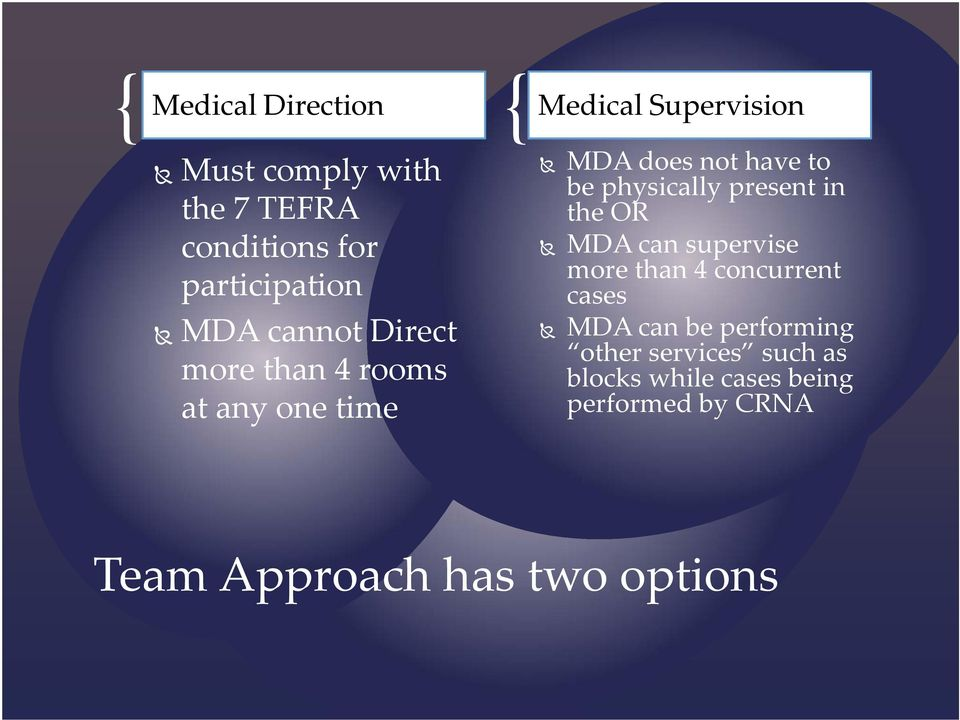 physically present in the OR MDA can supervise more than 4 concurrent cases MDA can be
