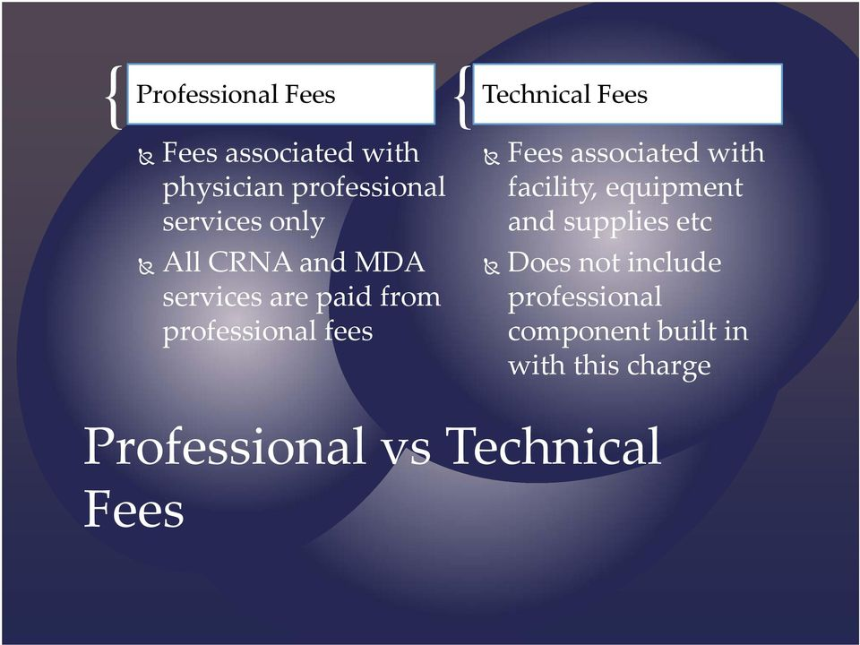 Fees associated with facility, equipment and supplies etc Does not include