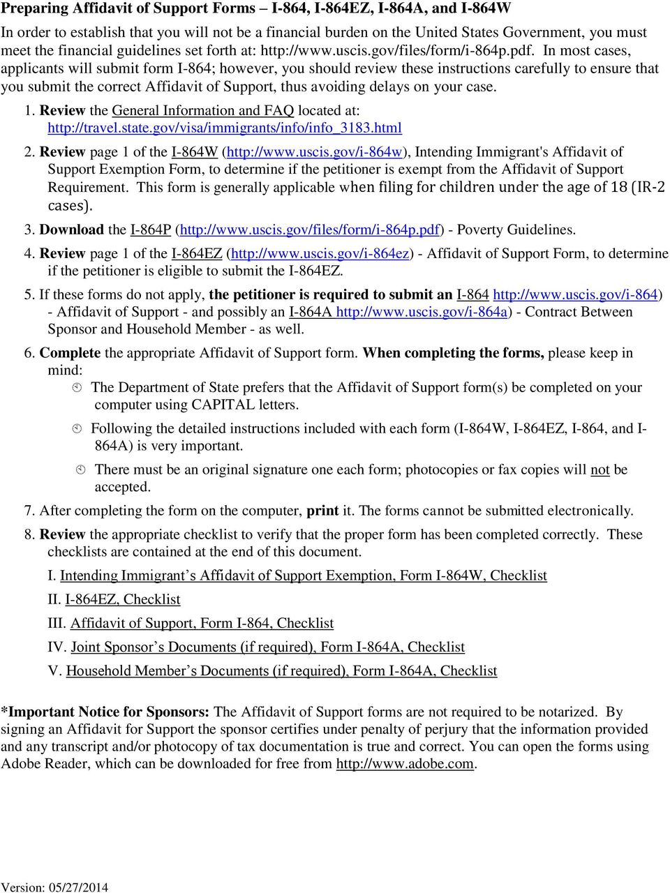 Visa instructions and checklist for immigrant visa applicants pdf in most cases applicants will submit form i 864 however you should falaconquin