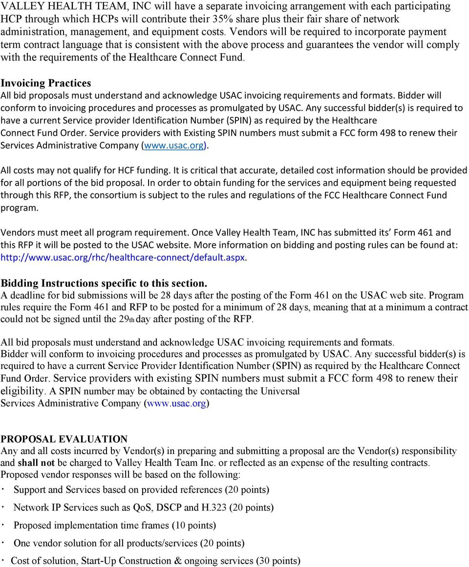 Request for Proposal Valley Health Team, INC FCC Healthcare
