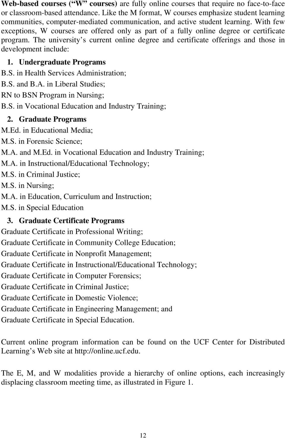 With few exceptions, W courses are offered only as part of a fully online degree or certificate program.