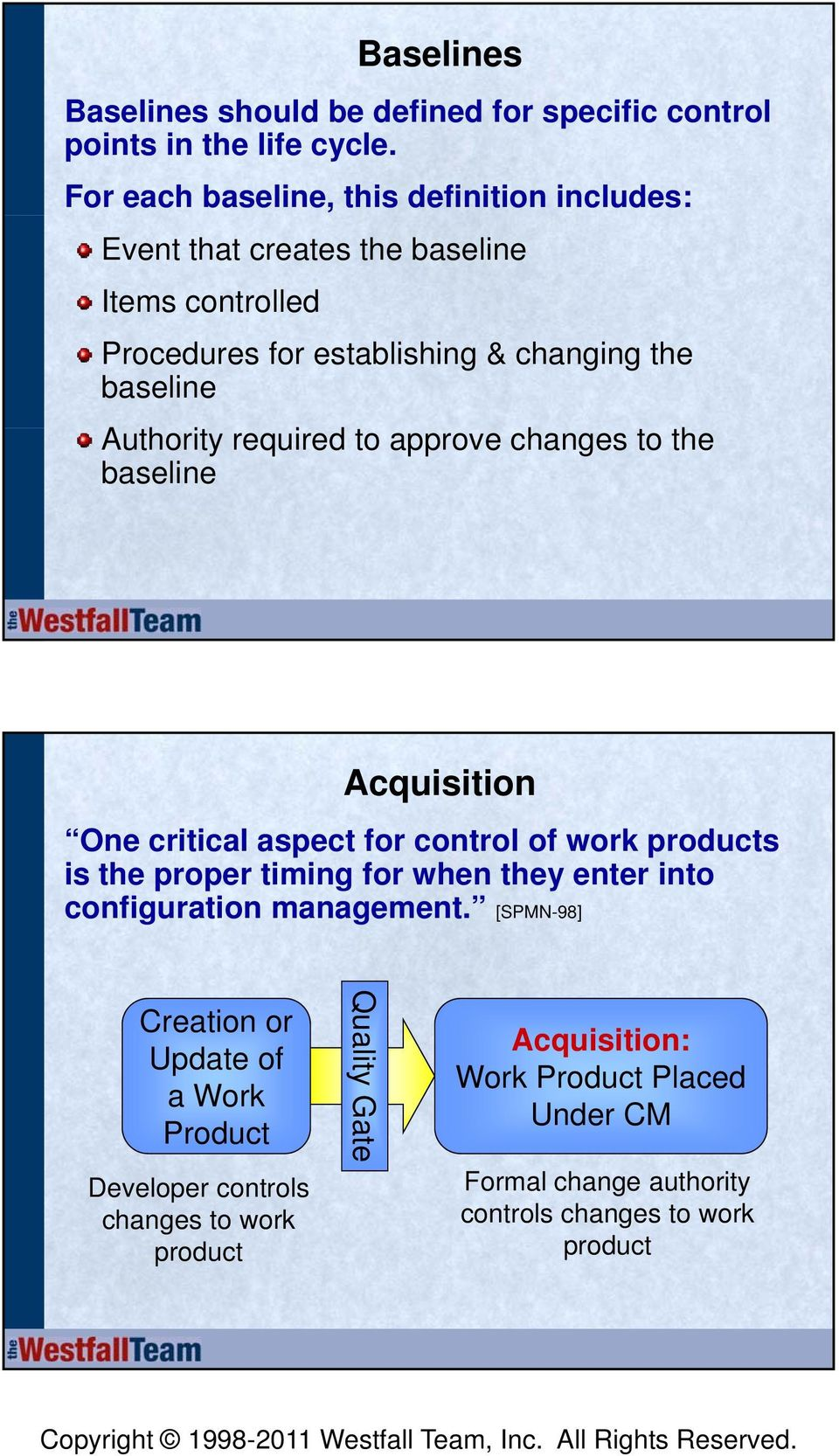 Authority required to approve changes to the baseline Acquisition One critical aspect for control of work products is the proper timing for when they