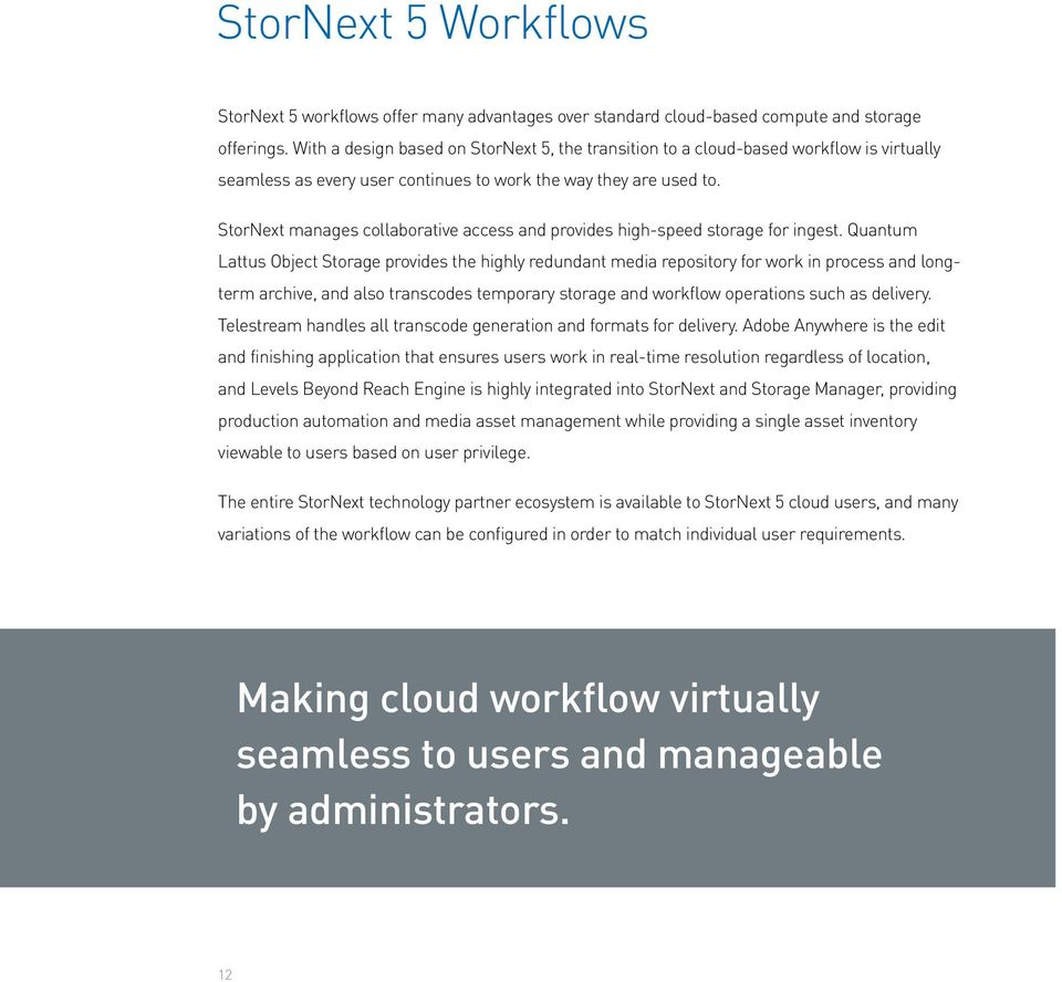 StorNext manages collaborative access and provides high-speed storage for ingest.