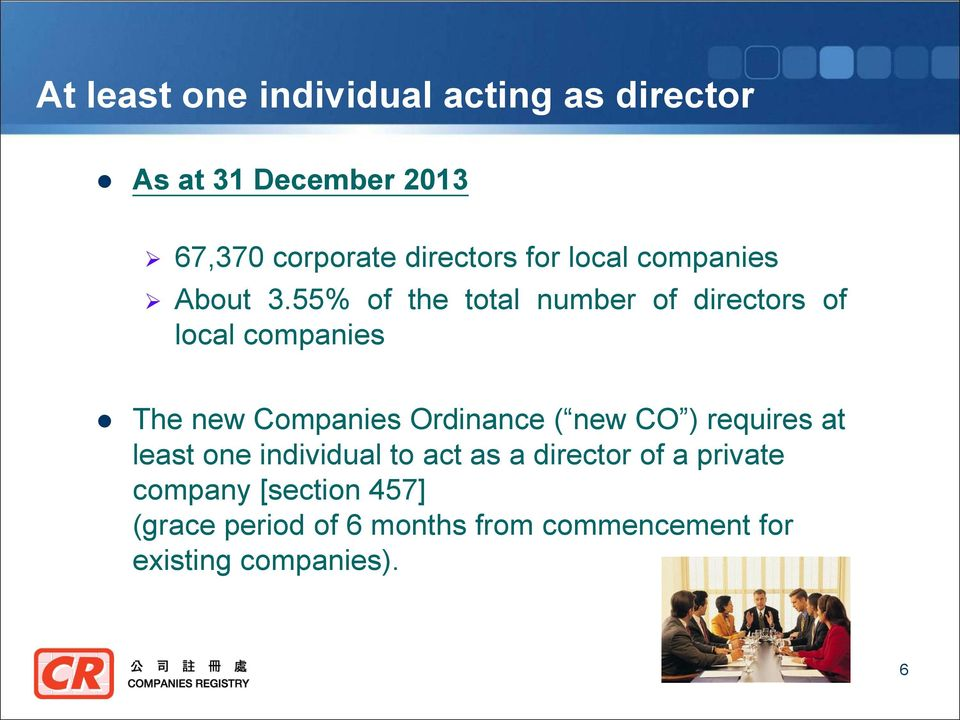 55% of the total number of directors of local companies The new Companies Ordinance ( new CO