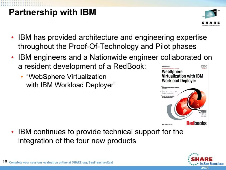 collaborated on a resident development of a RedBook: WebSphere Virtualization with IBM