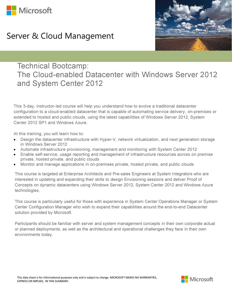 System Center 2012 SP1 and Windows Azure.