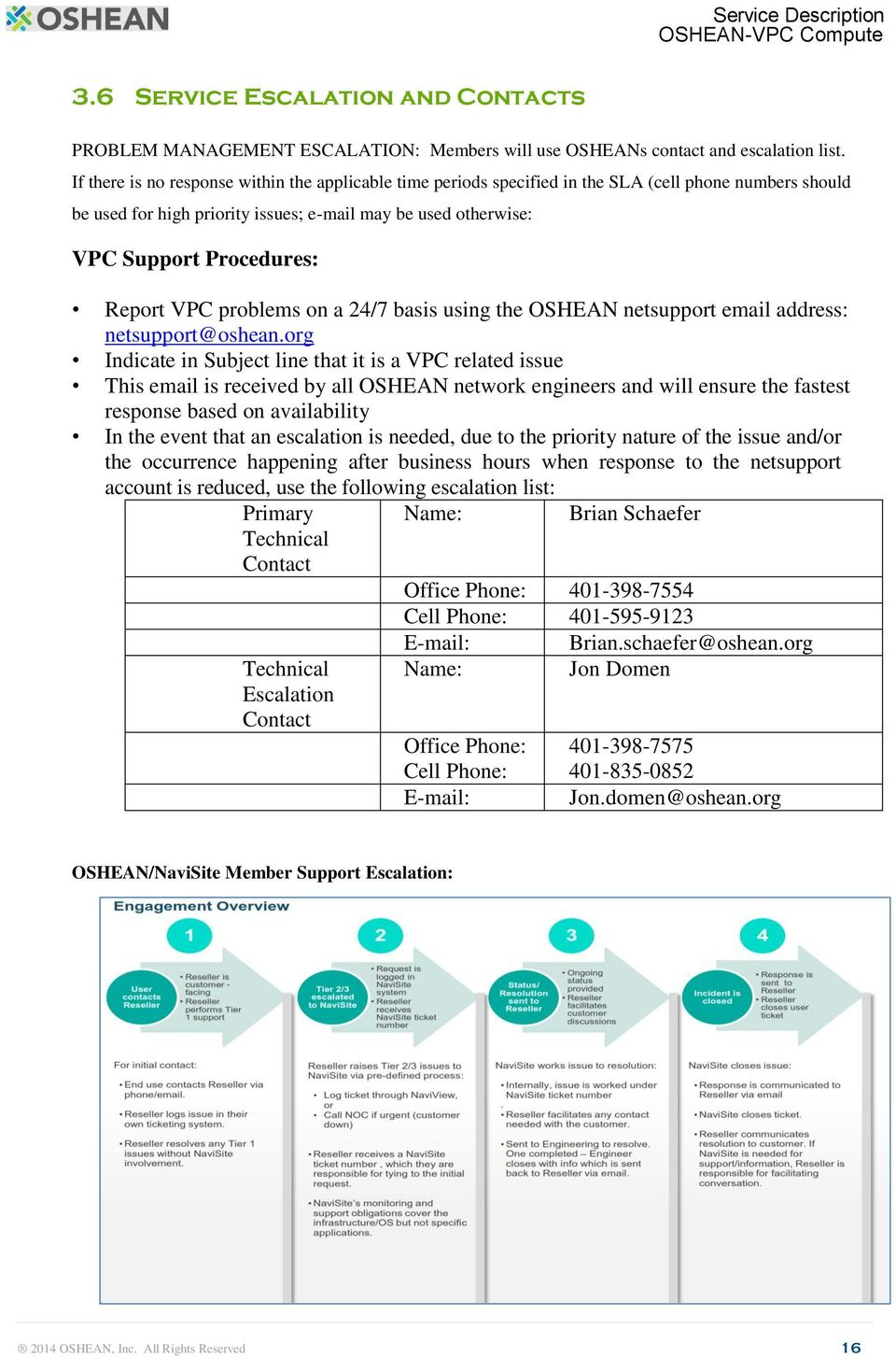 Report VPC problems on a 24/7 basis using the OSHEAN netsupport email address: netsupport@oshean.
