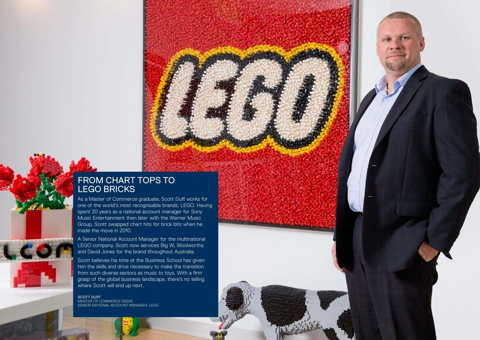 A Senior National Account Manager for the multinational LEGO company, Scott now services Big W, Woolworths and David Jones for the brand throughout Australia.