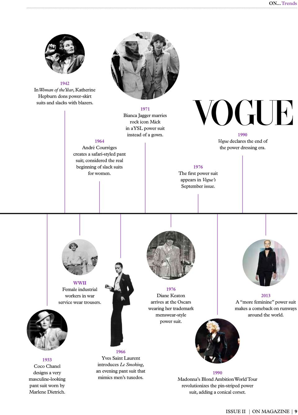 1990 Vogue declares the end of the power dressing era. WWII Female industrial workers in war service wear trousers.